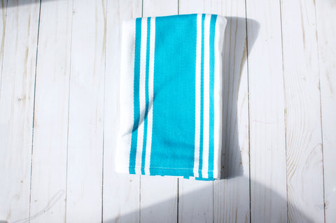 Teal and White Dish Towel