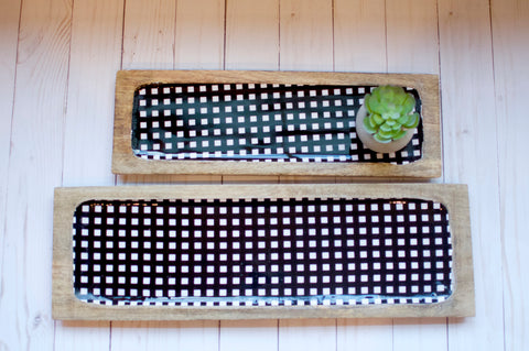 Gingham and Wood Tray