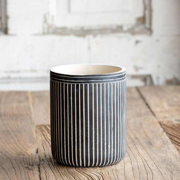 Pinstripe Cement Pot