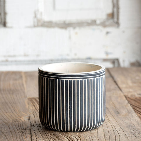 Short Pinstripe Cement Pot