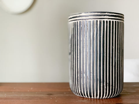 Tall Pinstripe Cement Pot