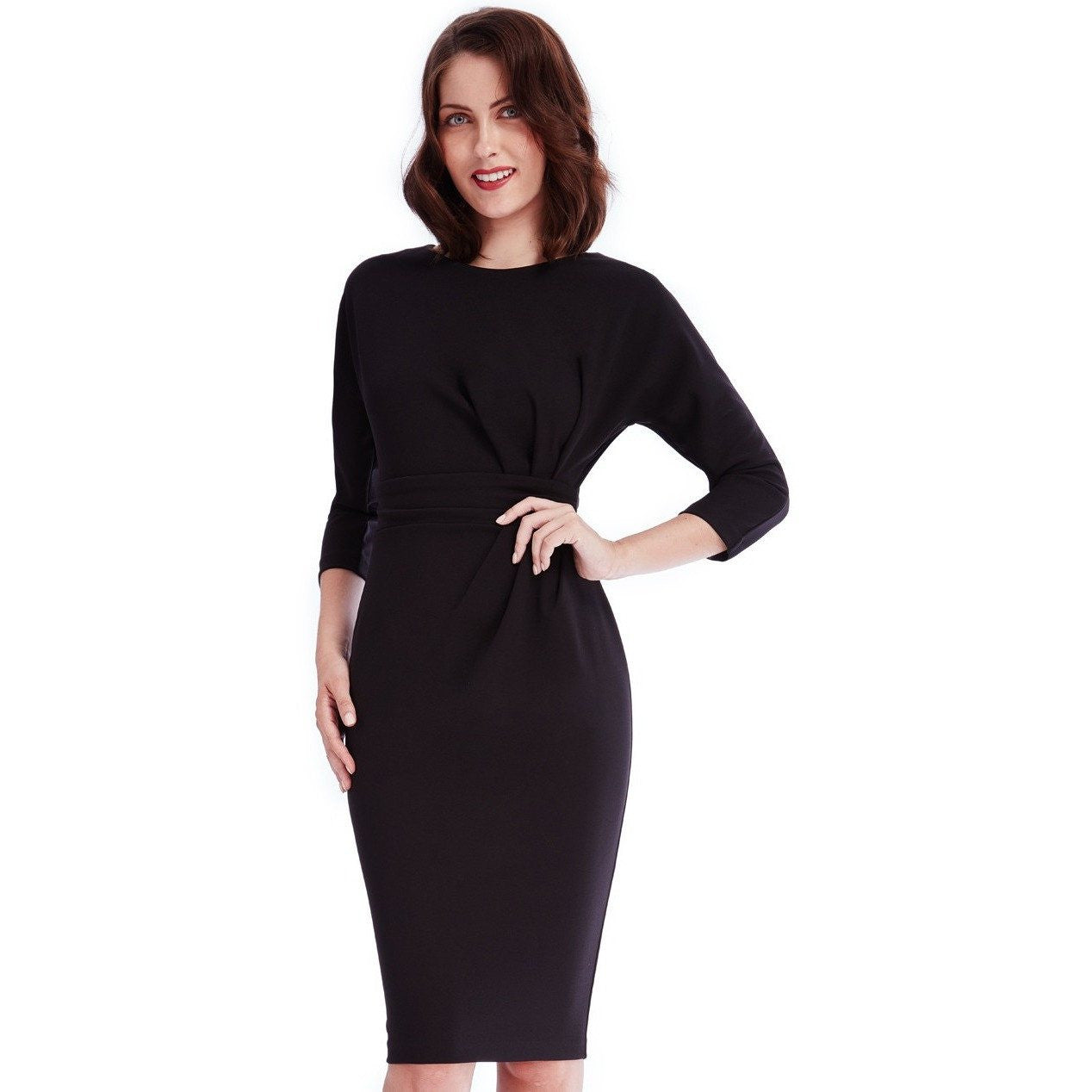 Black dress quarter sleeve - Black Dress With Pleated Detail In The Waist Three Quarter Sleeves And Thick Waistband