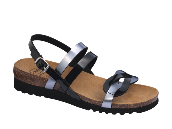 SOFIA SANDAL BLACK/PWTR LEATHER