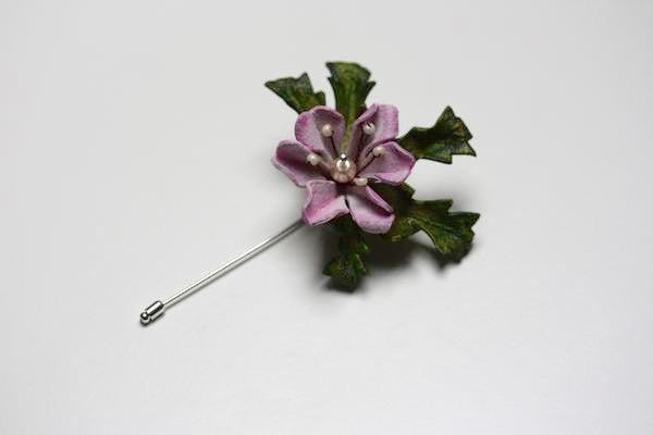 Floral Lapel Pin in Pink