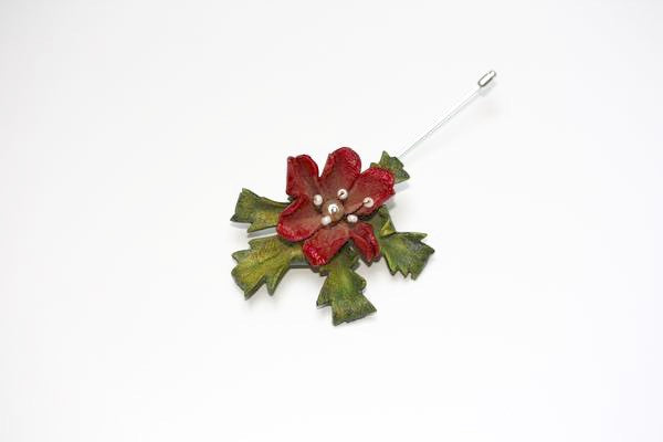 Floral Lapel Pin in Red