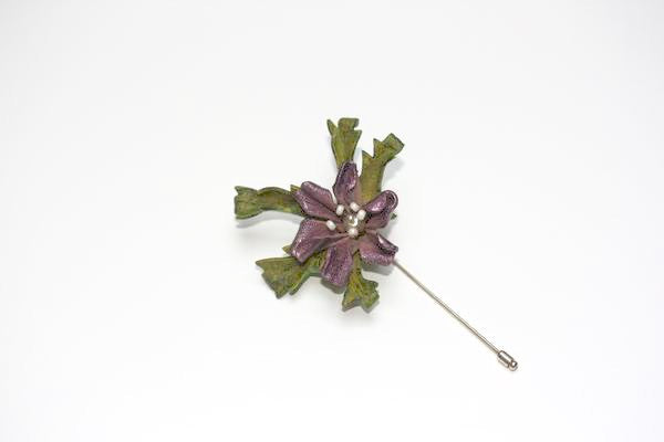 Floral Lapel Pin in Purple