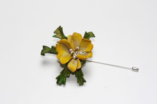 Floral Lapel Pin in Yellow