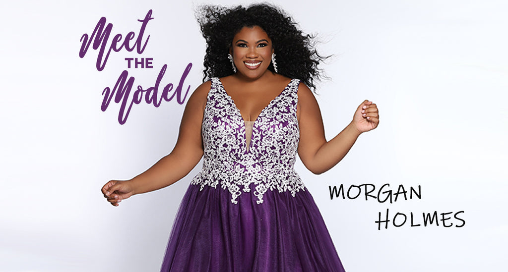 Meet the Plus Size Model Morgan Holmes wearing SC7291 from Sydney's Closet plus size prom, evening and pageant designer