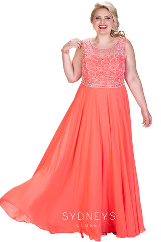 Orange Plus Size Prom Dresses