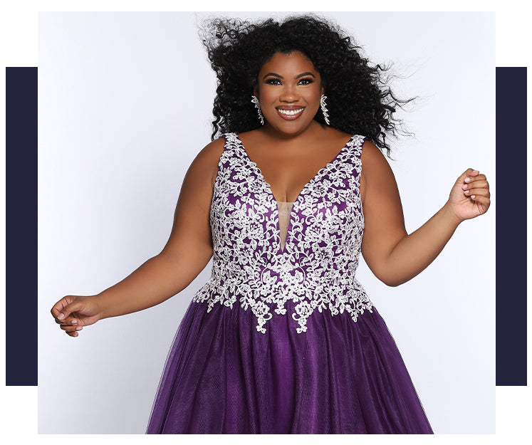 Plus size prom gowns by Sydney's Closet