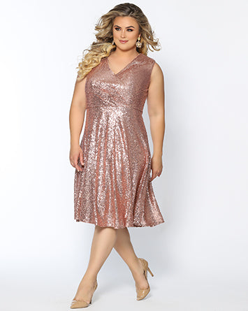 CE1901 rose gold sequin short party dress