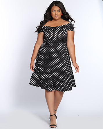 Plus Size Special Occasion and Prom Dress by Sydney's Closet in polka dots