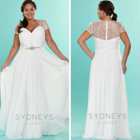 flowy chiffon wedding dress in plus size