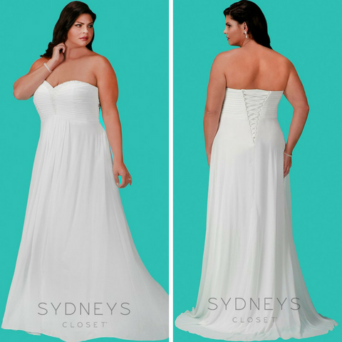 flowy chiffon wedding dress plus size