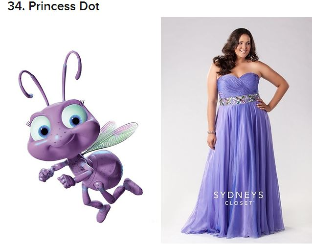 Yanderis Lodos wearing a purple prom gown from A Bug's Life