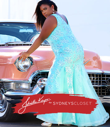 JK2108 johnathan kayne for sydney's closet plus size pageant dress in cyan with 1955 coupe deville
