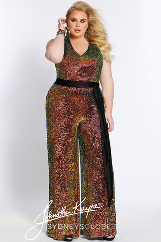 Prom 2021 plus size jumpsuit johnathan kayne for sydney's closet JK2110 in lava multi color with black belt