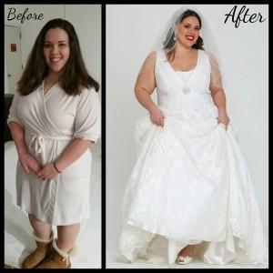 Before and after pictures of a plus size bride modeling a lace wedding gown.