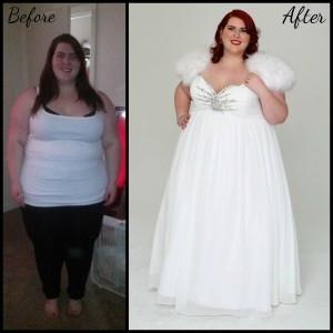 Before and after makeover pictures of plus size bride modeling Sydney's Closet Wedding Dress.