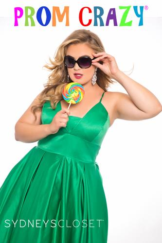 Sydney's Closet Plus Size Prom Crazy gown SC7270 in kelly green with sunglasses and lollipop