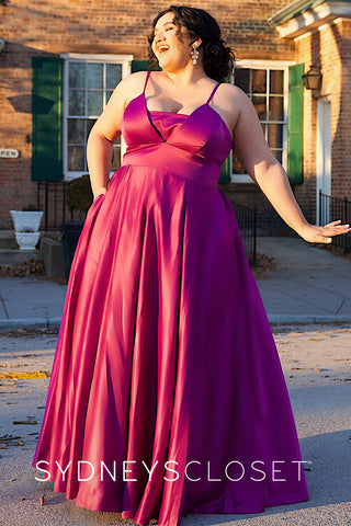 SC7301 plus size prom dress satin no beading pockets
