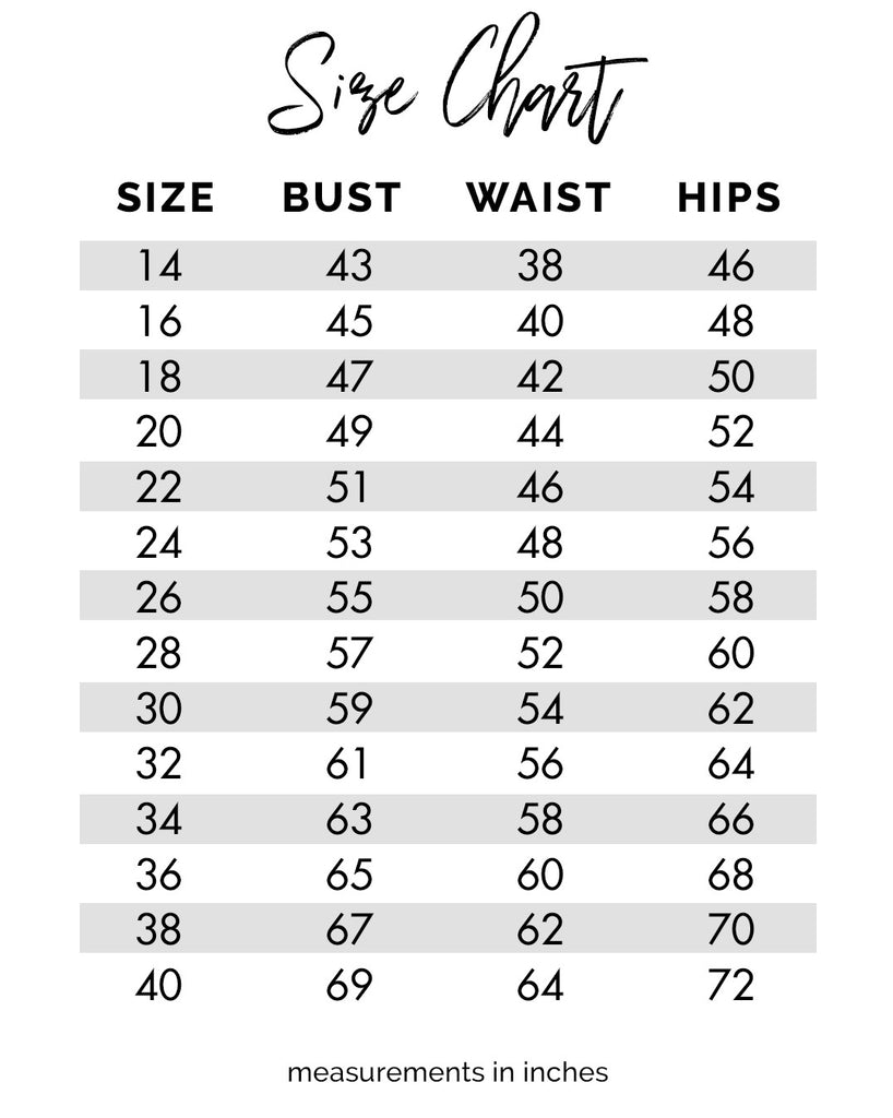 Size chart for sydney s closet plus size wedding prom formal dresses