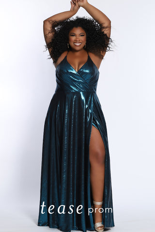 TE2116 shimmer lame fabric plus size prom dress with slit by Tease Prom