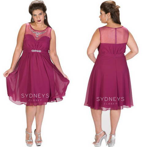 plus-size cocktail dress with illusion neckline