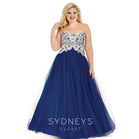 metallic plus size ball gown