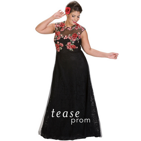 floral plus size prom dress