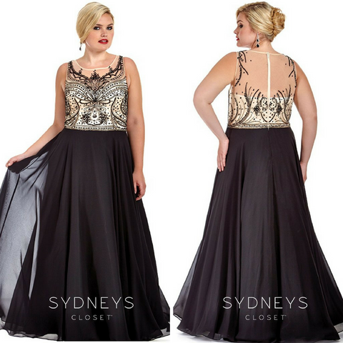 gorgeous plus size sheer beauty formal dress in black