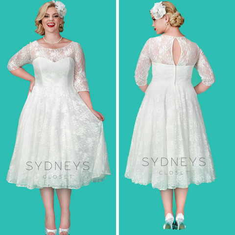 tea length plus size wedding dress