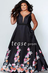 Tease Prom Black Flower Pocket Dress TE1939