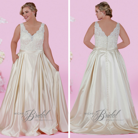 champagne wedding dress in plus sizes