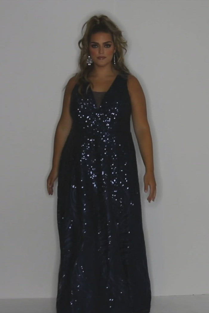Serendipity Prom Dress SC7306 by Sydney's Closet A-line v-neck with bra friendly straps and zipper back shimmery sparkely metallic pattern fabric available in navy