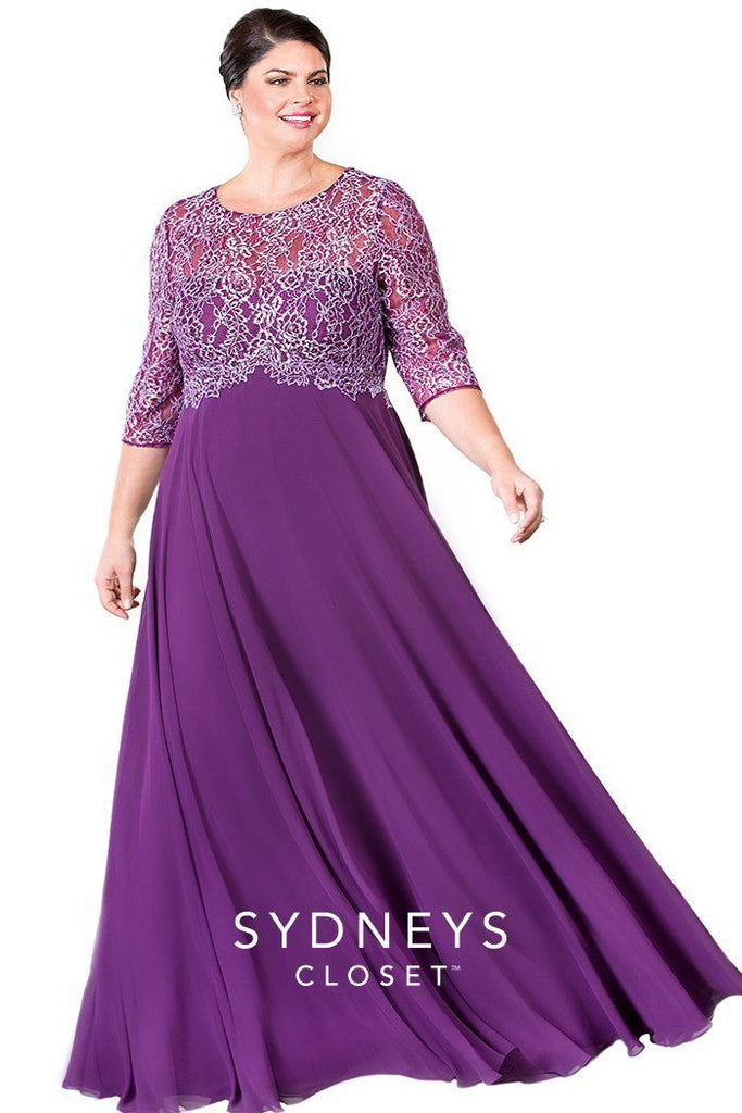 SC4103 formal evening gown in navy or plum with silver lace overlay and full chiffon skirt.