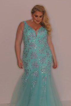 JK2108 Cayman Pageant Gown Johnathan Kayne for Sydney's Closet plus size pageant mermaid dress with zipper back silver metallic embellishments available in Cyan