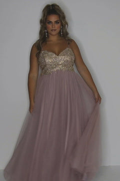 Aphrodite Prom Dress SC7309 by Sydney's Closet spaghetti straps soft tulle skirt empire with zipper back available in dusty rose