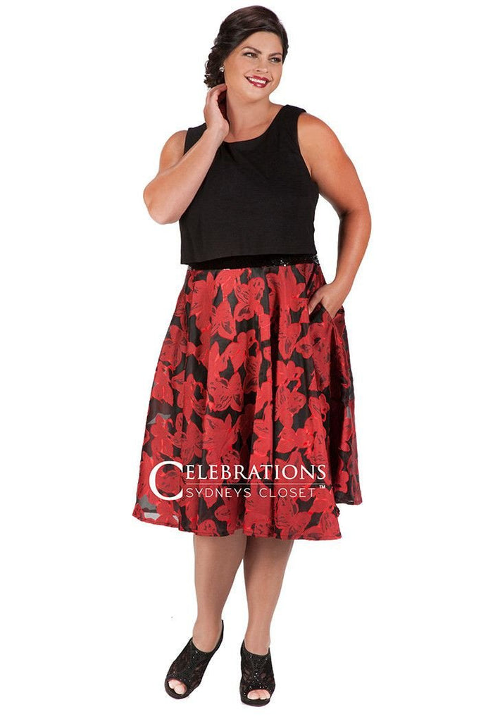 CE1603 party dress with solid black bodice and red floral skirt with faux two-piece look.