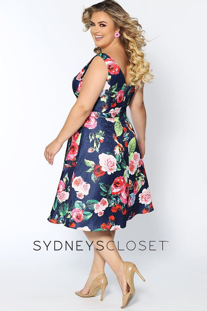 CE1806 short floral party dress with V-neckline, bra-friendly straps, A-line short skirt with pockets.