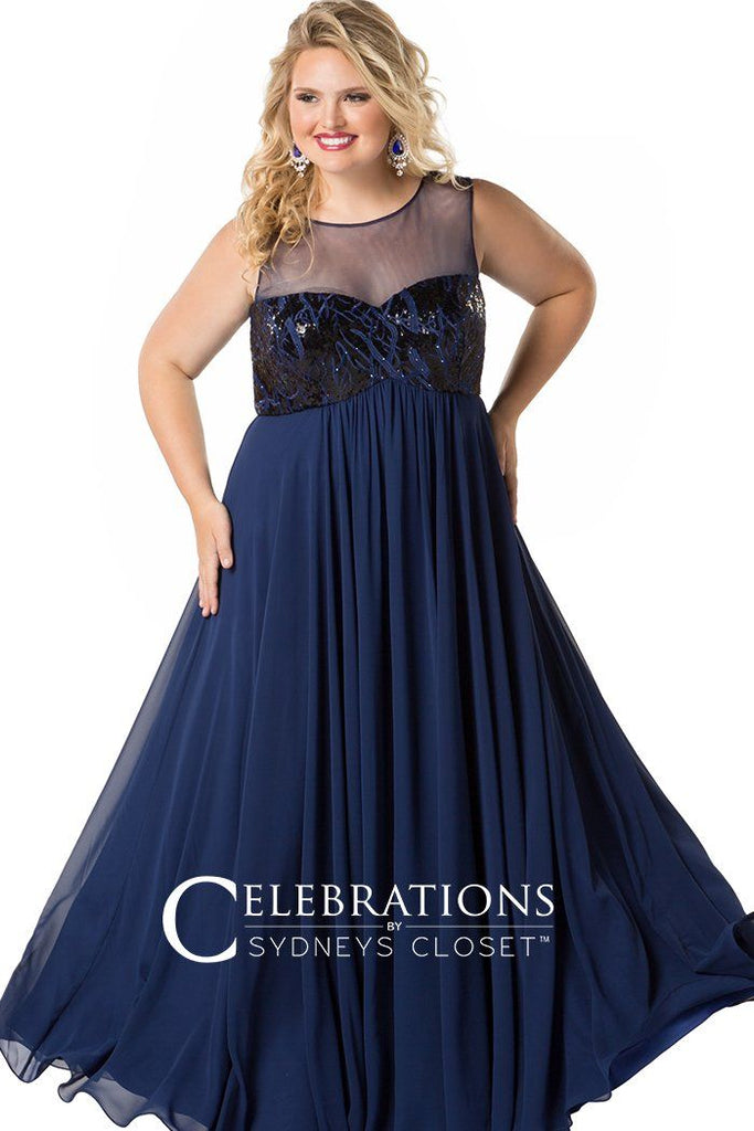CE1810 formal evening dress in black or navy with sequined sweetheart bodice and flowy chiffon skirt. Empire silhouette with illusion mesh scoop neckline.