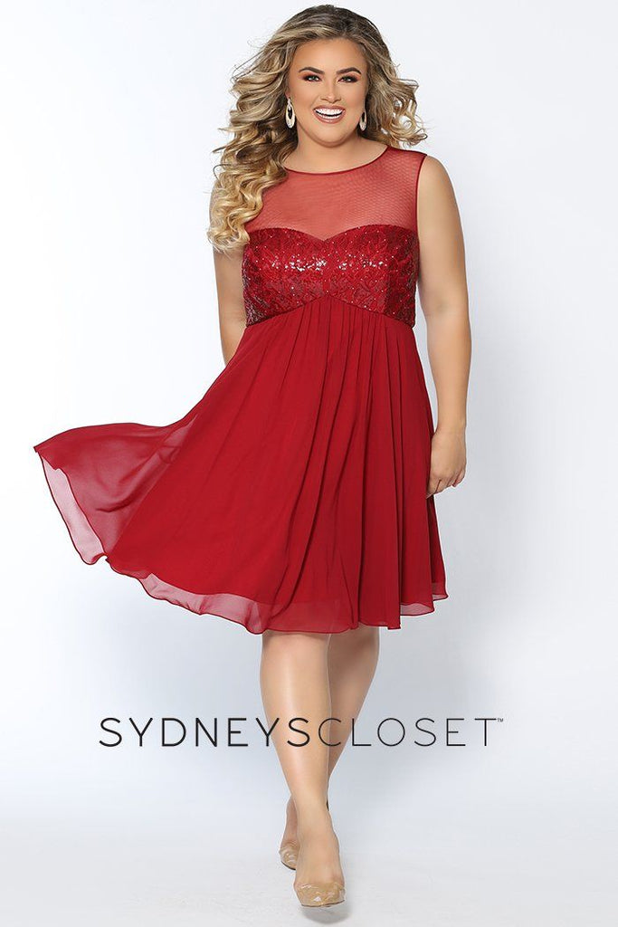 CE1817 burgundy, black or navy plus size short party dress with sequined sweetheart bodice and fully lined chiffon skirt.