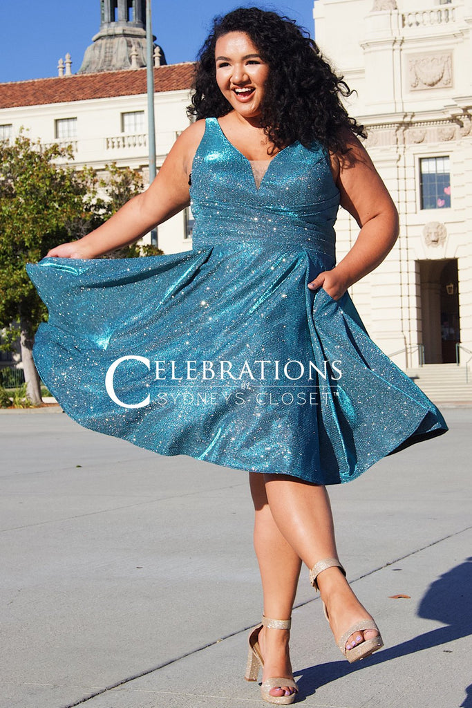 CE2005 for Celebrations by Sydney's Closet Stretch metallic knit fabric with bra friendly straps and center back zipper and v neckline available in royal and teal