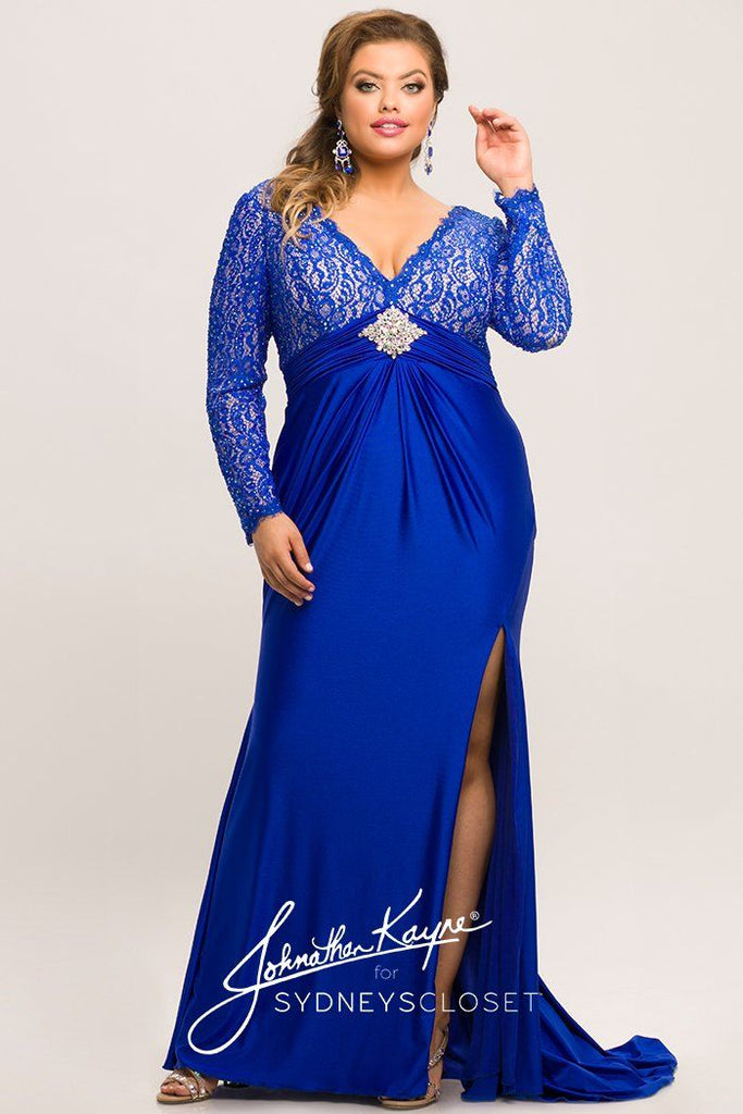 JK2003 plus size royal blue lace and stretch knit evening gown.  Deep lace V-neckline, empire silhouette, pleated stretch knit floor length skirt with slit and train.