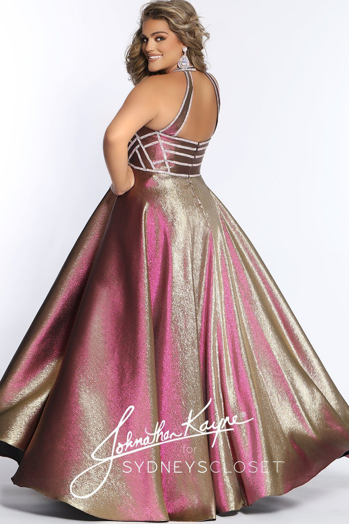 JK2008 metallic plus size evening gown in artic blue/green or prism pink/gold. Satin A-line silhouette, sweetheart neckline, embellished bodice, halter straps and full metallic satin shimmer skirt.