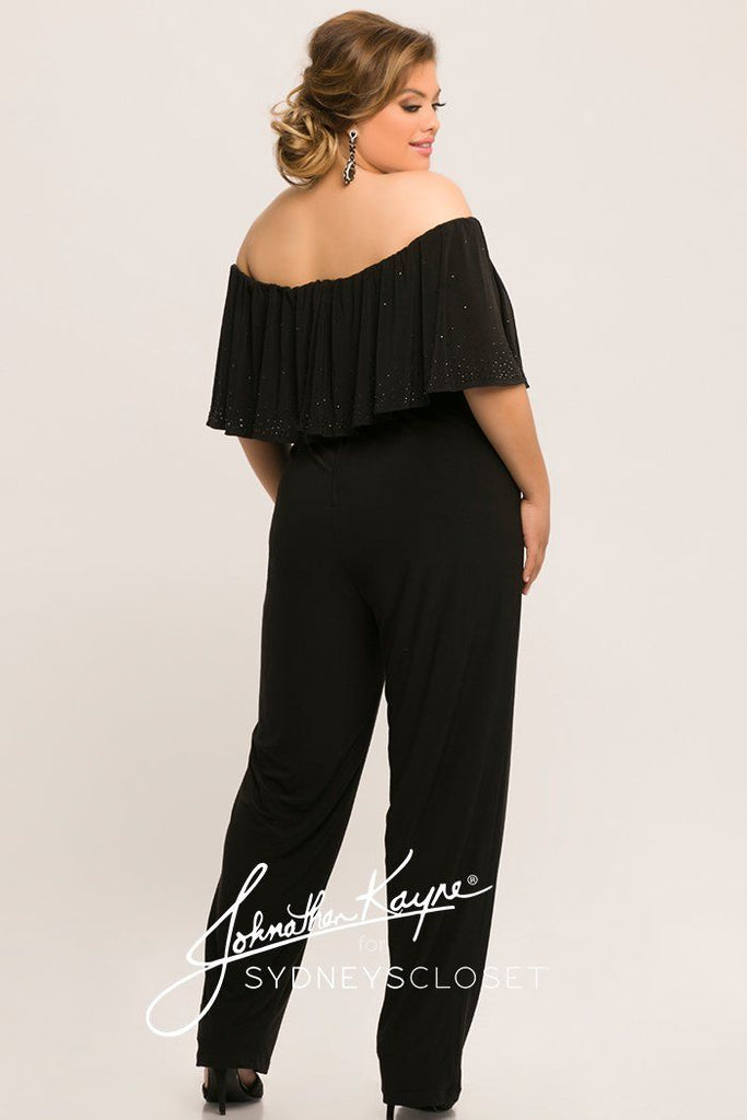 JK2014 plus size jersey knit jumpsuit in black. Off-the-shoulder ruffle sleeves, flounce ruffle bodice with beading, center-back zipper and stretch jersey knit pants.