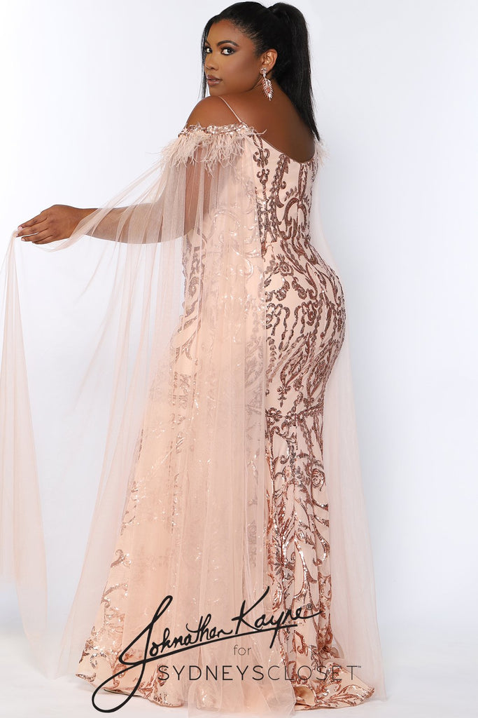 JK2102 Porsche Pageant Gown Johnathan Kayne for Sydney's Closet plus size pageant mermaid dress with zipper back detachable scarves sequins available in Onyx or Rose Gold