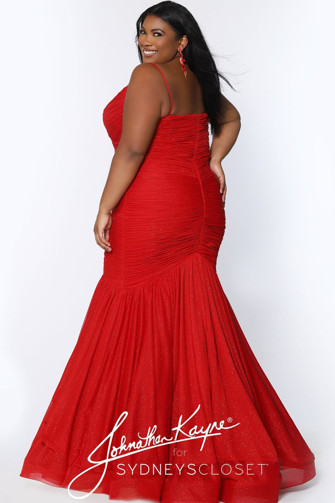 JK2106 Bentley Pageant Gown Johnathan Kayne for Sydney's Closet plus size pageant mermaid dress with spaghetti straps zipper back available in Amethyst and Ruby