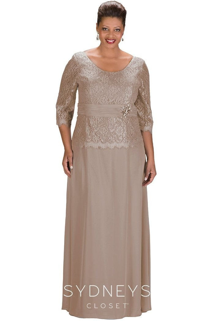 SC4020 formal evening dress in navy, gray, taupe and plum.  Scoop neckline, lace bodice, 3/4 sleeves with chiffon skirt and beaded waistline.