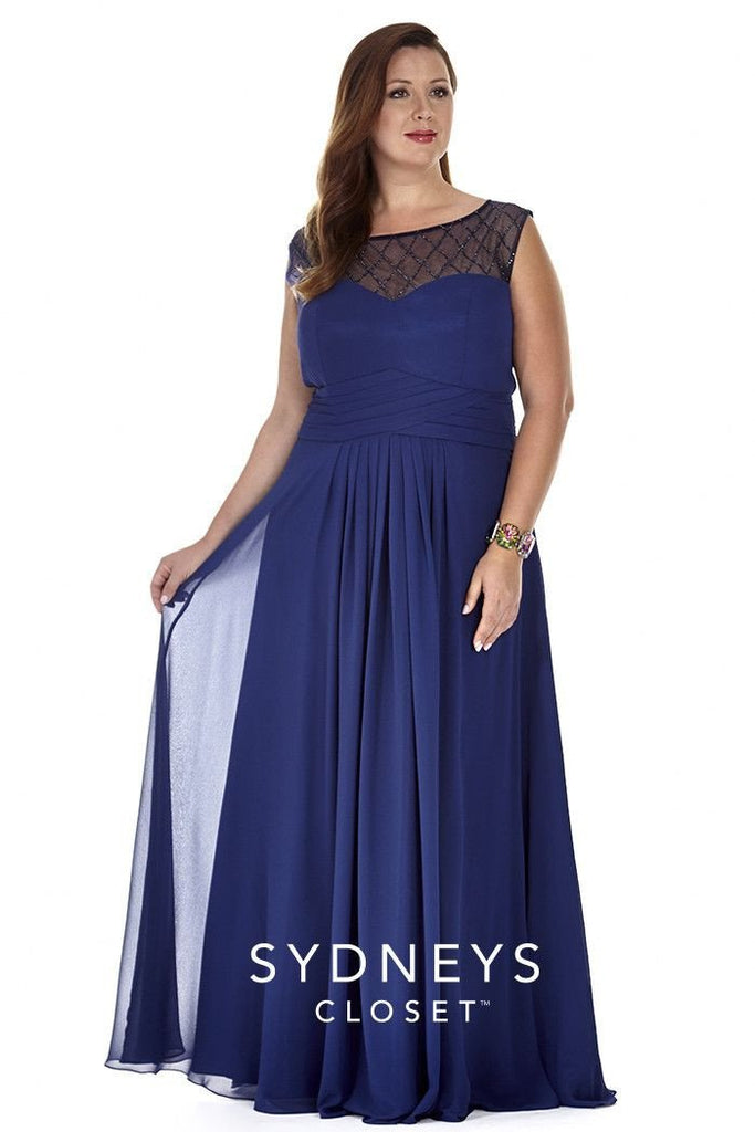 SC4050 navy formal evening dress with scoop neckline, sweetheart bodice, chiffon skirt and matching shawl.